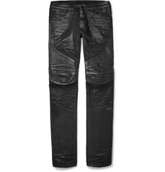 Balmain Slim-Fit Leather-Panelled Coated Denim Biker Jeans