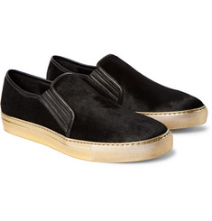 Balmain Leather-Trimmed Calf Hair Slip-On Sneakers