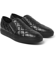 Balmain Quilted Leather Slip-On Sneakers