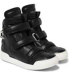 Balmain Zip-Detailed Leather High-Top Sneakers
