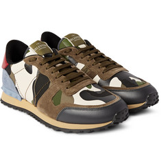 Valentino Studded Camouflage Leather, Canvas and Suede Sneakers