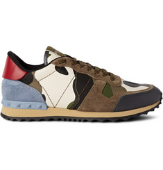 Valentino Studded Camoflauge Leather, Canvas and Suede Sneakers