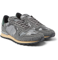 Valentino - Studded Camouflage Felt Sneakers