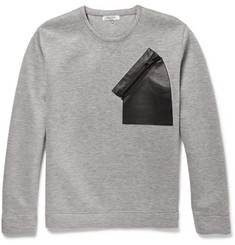 Valentino Leather-Trimmed Neoprene Sweatshirt