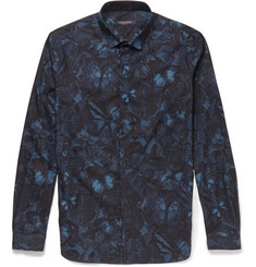 Valentino Butterfly Camouflage-Print Cotton Shirt