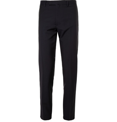 Valentino Slim-fit Wool And Mohair-blend Trousers In Nero