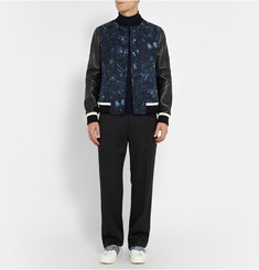 Valentino Leather-Panelled Butterfly-Print Wool Bomber Jacket