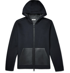 Valentino Leather-Trimmed Neoprene Hoodie