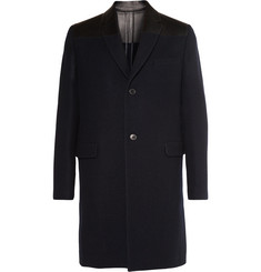 Valentino Leather-Trimmed Wool Overcoat