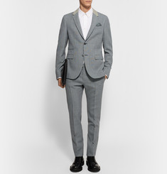 Valentino Blue Slim-Fit Houndstooth Virgin Wool Suit