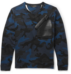 Valentino Leather-Trimmed Camo Cotton-Blend Jersey Sweatshirt