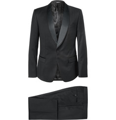 Dolce & Gabbana Black Slim-Fit Wool-Blend Three-Piece Tuxedo