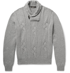 Loro Piana Snowfall Shawl-Collar Cable-Knit Baby Cashmere Sweater