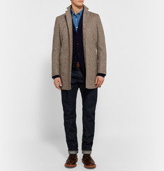 Freemans Sporting Club Slim-Fit Suede Elbow Patch Wool-Tweed Car Coat