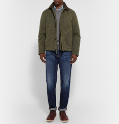 Freemans Sporting Club Faux Shearling-Lined Waxed Cotton-Canvas Deck Jacket