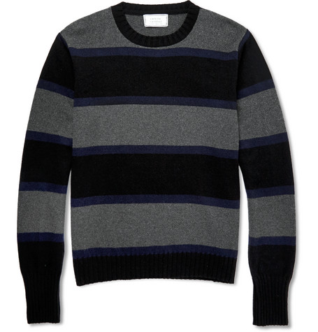 Officine Generale Striped Cashmere And Wool Blend