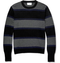 Officine Generale Striped Cashmere and Wool-Blend Sweater