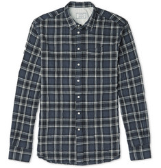 Officine Generale Slim-Fit Plaid Cotton-Blend Flannel Shirt