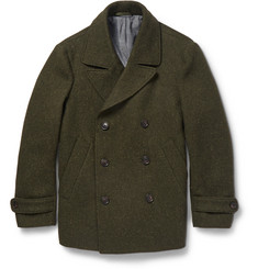 Officine Generale Double-Breasted Slubbed Wool Peacoat