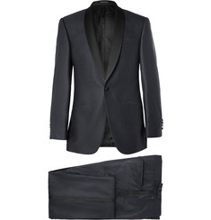 Richard James Navy Satin-Trimmed Wool Suit
