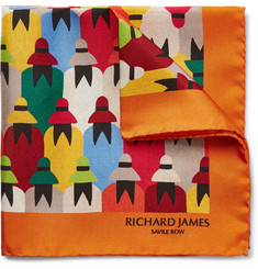 Richard James - Crowd-Print Silk-Twill Pocket Square