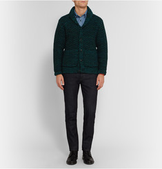 Richard James Shawl-Collar Herringbone Wool Cardigan