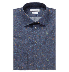 Richard James Blue Slim-Fit Digital Donegal Cotton-Poplin Shirt