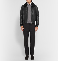 Tom Ford Shearling-Trimmed Leather Bomber Jacket