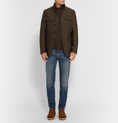 Tom Ford Suede-Panelled Merino Wool and Cashmere-Blend Sweater