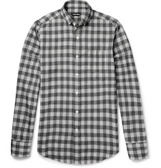 Tom Ford Slim-Fit Checked Brushed-Cotton Shirt