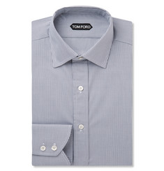 Tom Ford Grey Slim-Fit Gingham Cotton Shirt