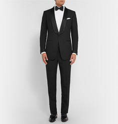 Tom Ford White Pleated Cotton Tuxedo Shirt