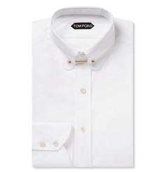 Tom Ford White Slim-Fit Collar-Bar Cotton Shirt