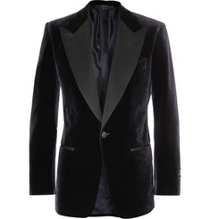 Tom Ford Navy Slim-Fit Velvet Tuxedo Jacket
