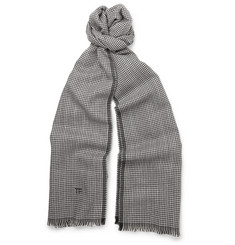Tom Ford Houndstooth Wool and Silk-Blend Scarf