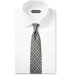 Tom Ford Gingham Textured-Silk Tie