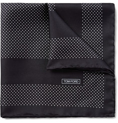 Tom Ford Pin Dot-Printed Silk-Twill Pocket Square