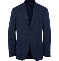 Incotex Navy Slim-Fit Brushed Wool-Blend Blazer