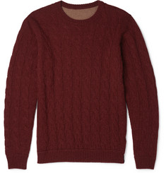 Incotex Reversible Cable-Knit Camel Sweater