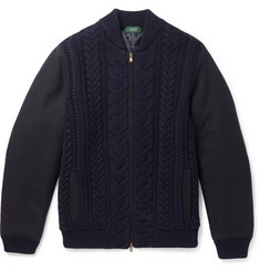Incotex Cable-Knit Wool-Blend Bomber Jacket