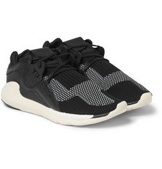 Y-3 Boost QR Tech-Knit and Leather Sneakers