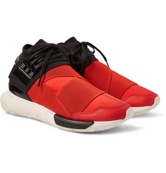 Y-3 Qasa Leather-Trimmed Neoprene High-Top Sneakers