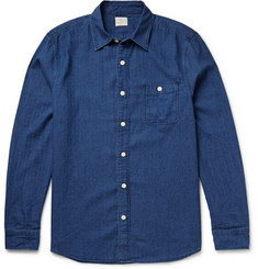 Faherty Seaview Indigo-Dyed Brushed-Cotton Shirt