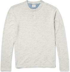 Faherty Mélange Cotton-Jersey Henley T-Shirt