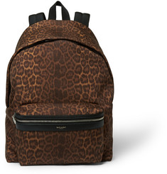 Saint Laurent Leather-Trimmed Leopard Print Backpack