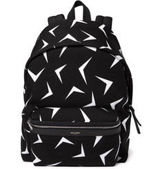 Saint Laurent - Leather-Trimmed Boomerang-Print Canvas Backpack