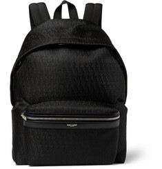 Saint Laurent Leather-Trimmed Monogrammed Jacquard Backpack
