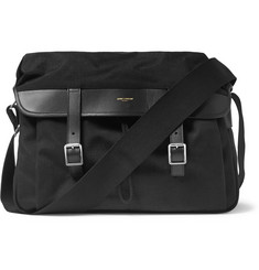 Saint Laurent Leather-Trimmed Canvas Messenger Bag