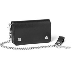 Saint Laurent Chain-Trimmed Leather Wallet