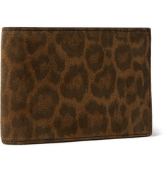 Saint Laurent Leopard-Print Suede Billfold Wallet